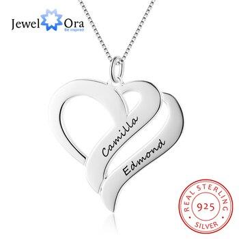 9a851d12a2e2 Collar con forma de corazón personalizado grabado nombre 925 collares y  colgantes de plata de ley regalo para ella (joyería NE102378)