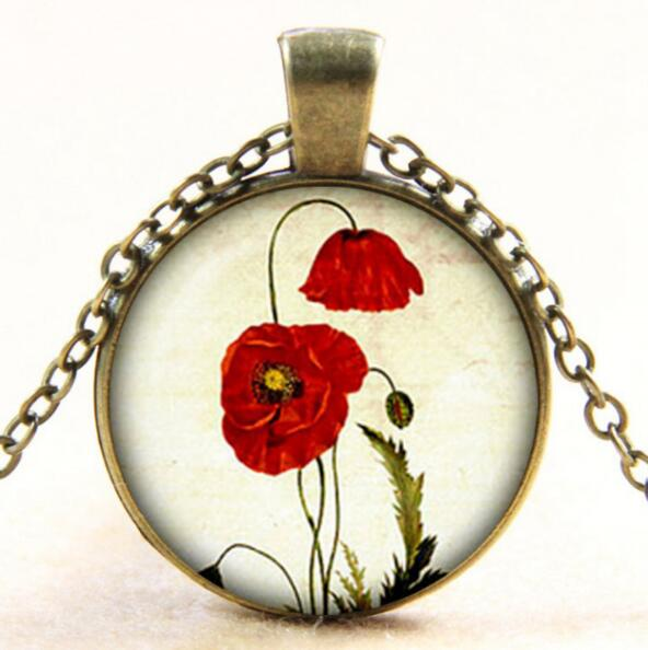 Vintage Red Poppy Glass Dome Photo Pendant Necklace Red Poppy Jewelry For Women Men Gifts drop shopping YLQ0956