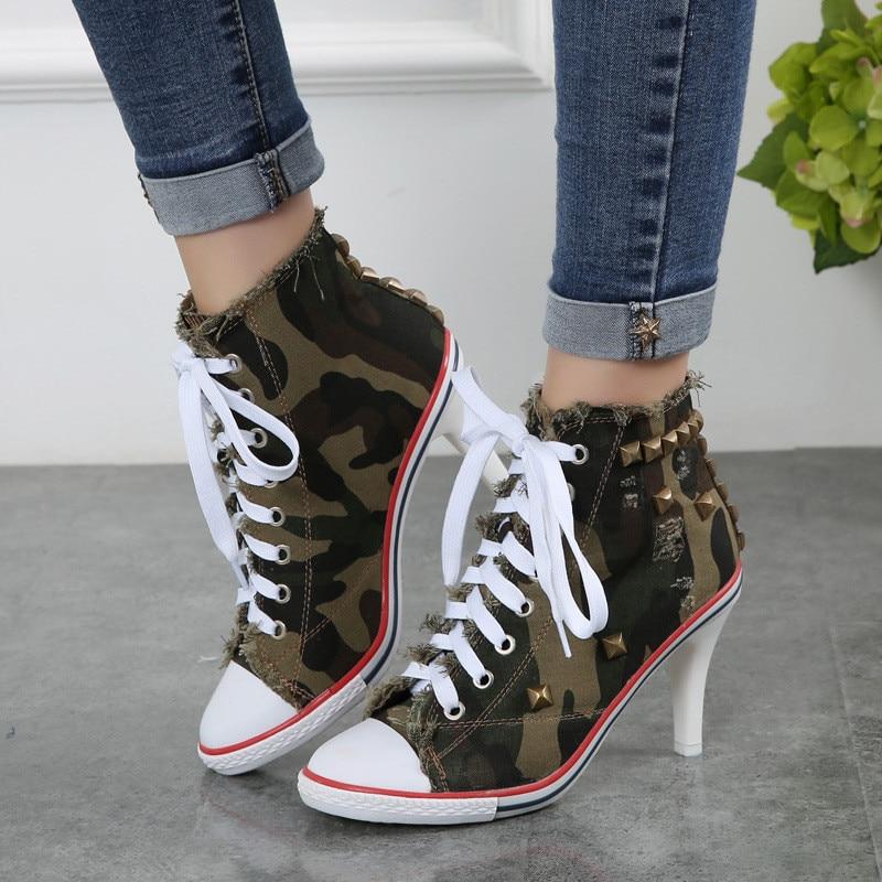 2018 haut toile chaussures 8.5 cm talon bottines à lacets haut talon chaussures Femme décontractées Rivet Demin Chaussure Femme - 6