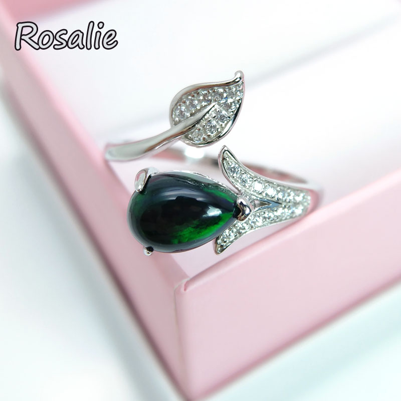 Rosalie,Tree leaves design Ring with natural good color black opal gemstone Fine jewelry 925 sterling silver for women gift rosalie natural 0 5ct yellow sapphire gemstone ring elegant design 925 sterling silver fine jewelry for girls fine jewelry
