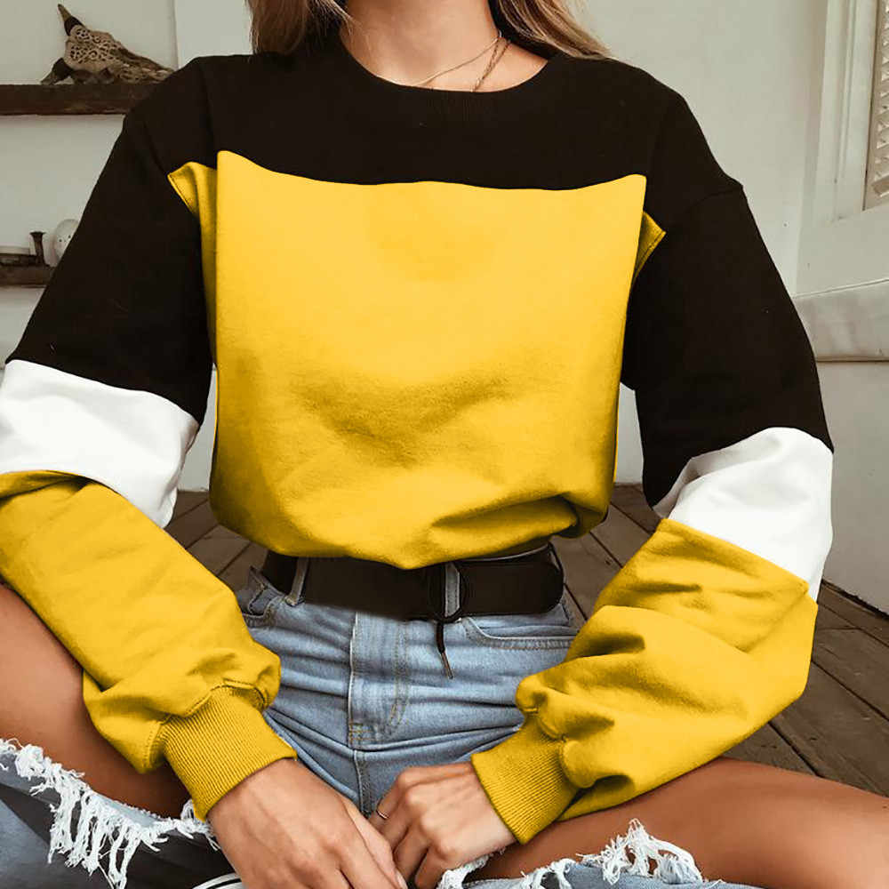 נשים של ארוך שרוולים Splcing צבע סווטשירט סוודר חולצות חולצה מזדמן טלאי בד סלעית חדש אביב סתיו נשים חולצות * n