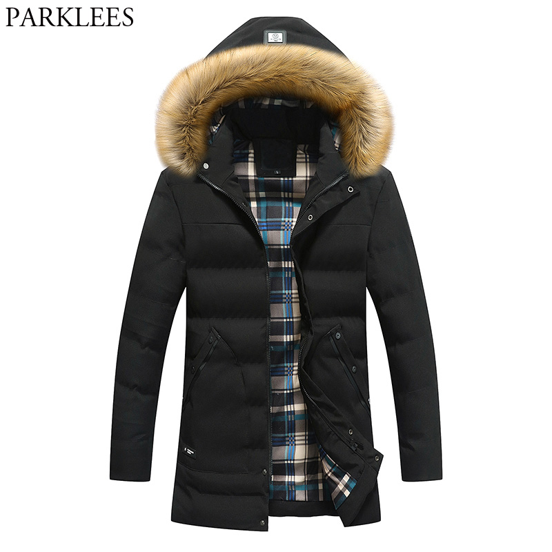 Winter Parka Men 2017 Fur Collar Hooded Jacket Doudoune Homme Hiver Thick Warm Mens Jacket And Coats Casual Slim Fit Men Coat hot sale winter jacket men fashion cotton coat warm parka homme men s causal outwear hoodies clothing mens jackets and coats
