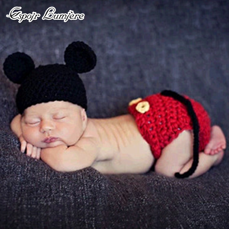 Photography Props Crochet Knit Outfits Photo Accessories Toddler Infant Costume Pants Set Cute Baby Hat Set Newborn Cartoon christmas cute crochet knit costume prop outfits photo photography baby ear hat photo props new born baby girls cute outfits
