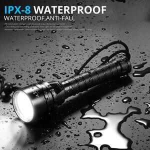 Image 4 - ألمع المهنية الغوص مضيا XML T6 L2 المحمولة الغوص الشعلة 200 متر تحت الماء IPX8 مقاوم للماء 18650 مشاعل