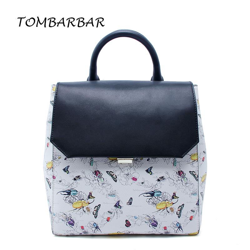 TOMBARBAR Fashion backpacks women leather bags printing backpack mochila female casual bag for Teenage girls school bags runningtiger women backpack eiffel tower printing backpack casual school bags for teenage girls travel backpack female mochila