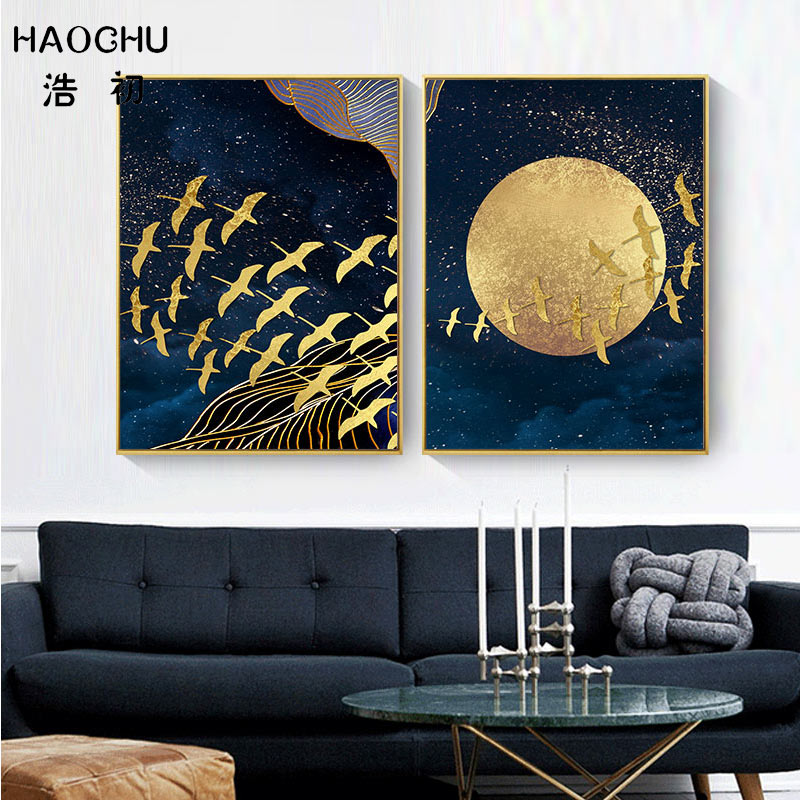 Image 4 - HAOCHU New Chinese Style Golden Moon Bird Abstract Auspicious Art Poster Print Picture Home Decor Wall Sticker Canvas Painting-in Painting & Calligraphy from Home & Garden