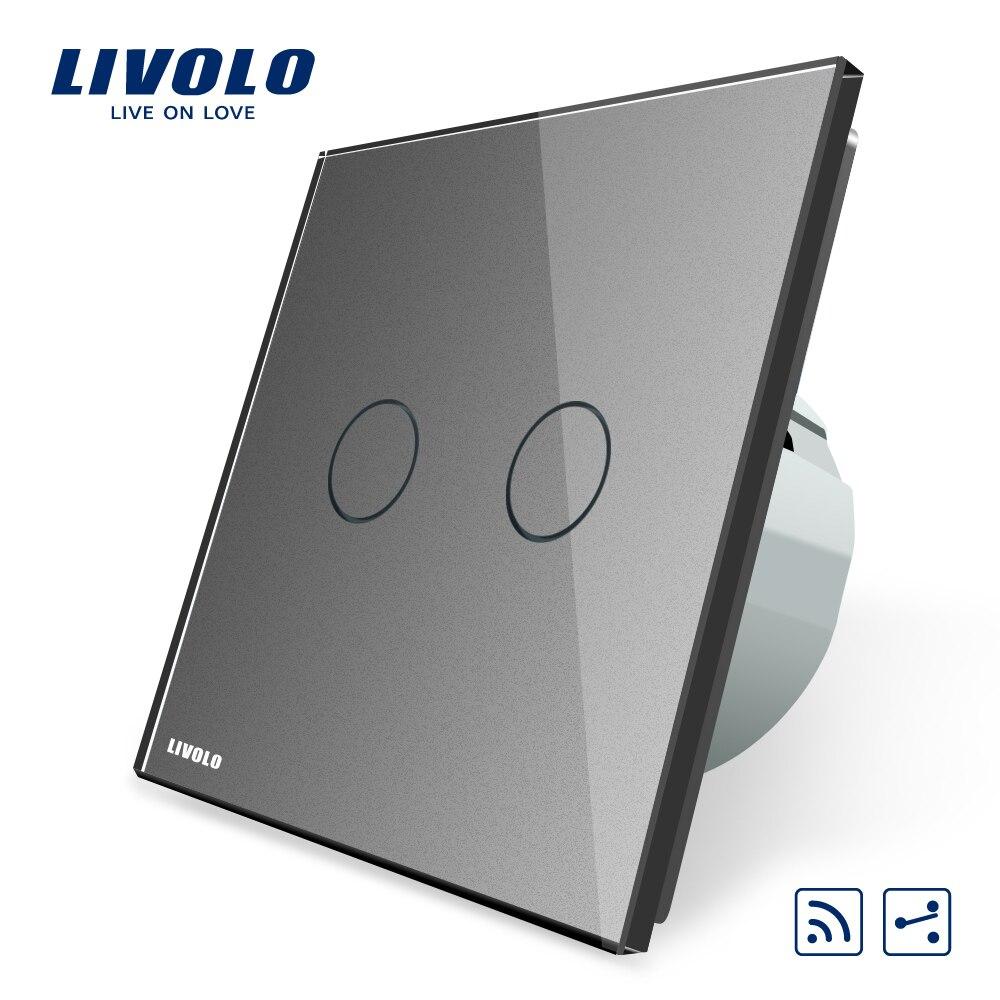 Livolo EU Standard commutateur à distance tactile, panneau en verre cristal blanc, 2 Gang 2Way, AC 220 ~ 250 V, VL-C702SR-1/2/3/5, pas de télécommande