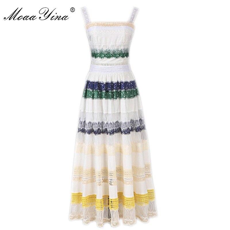 MoaaYina Fashion Designer Spaghetti strap Dress Summer Women Dress Lace Patchwork Sweet Elegant Dress