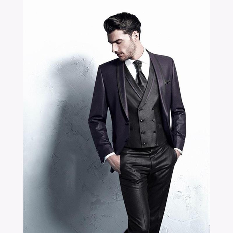 Fashion mens shiny purple jacket Wedding suits for men Three pieces Shawl Lapel groom tuxedos suit ( jacket+black Pants+vest)