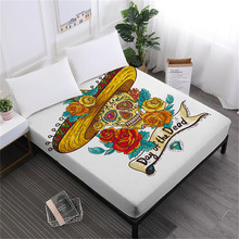 Day of the Dead Bed Sheets Sugar Skull Fitted Sheet Colorful Flowers Skull Print Sheet Queen King Mattress Cover Deep Pocket D25 цена