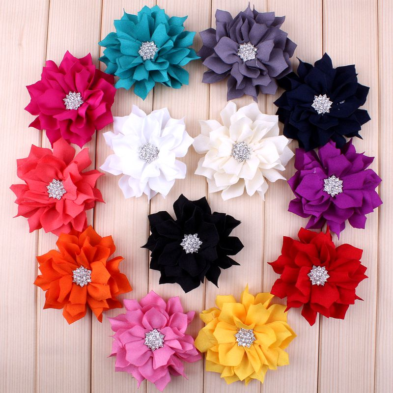 """30pcs/lot 3.5"""" 13colors Artificial Lotus Leaf Flowers With Rhinestone Button For Hair Accessories Fabric Flowers For Headbands"""