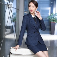 Fashion Striped Professional Uniform Formal OL Styles Work Suits With Jackets And Dress For Ladies Blazer