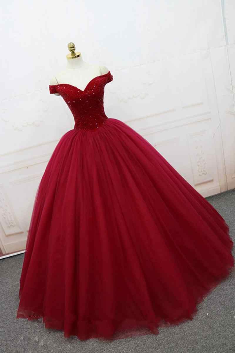 Janevini De Lujo Vestido De Quinceañera Burdeos 2019 V Cuello Pesadas Rebordear Sin Espalda Vestido De Princesa Vestidos De Gala De Tul Traje 16 Ans