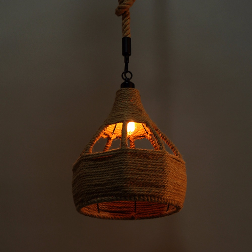 Vintage Retro Creative Rope Pendant Lights Loft/Restaurant Bedroom Dining Room Hanging Lamp Hand Knitted Hemp Rope Light Fixture retro country pendant lights loft vintage lamp restaurant bedroom dining room pendant lamps american style for living room