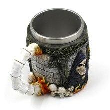 Milk Coffee Mug Cups Resin Mug Tankard Striking Skull Warrior Tankard Viking Beer Gothic Helmet Drinkware