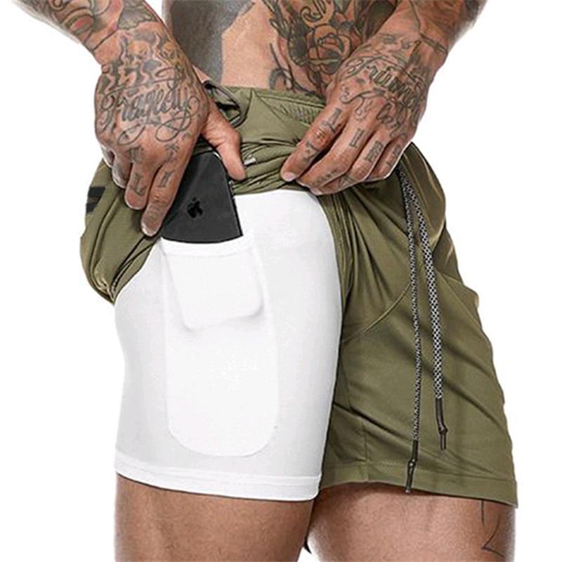 2019 Uomini di Estate shorts Nascosta Telefono Cellulare all'interno Tasche Jogging Fitness Sporting shorts Quick Dry Allenamento Palestre shorts uomini