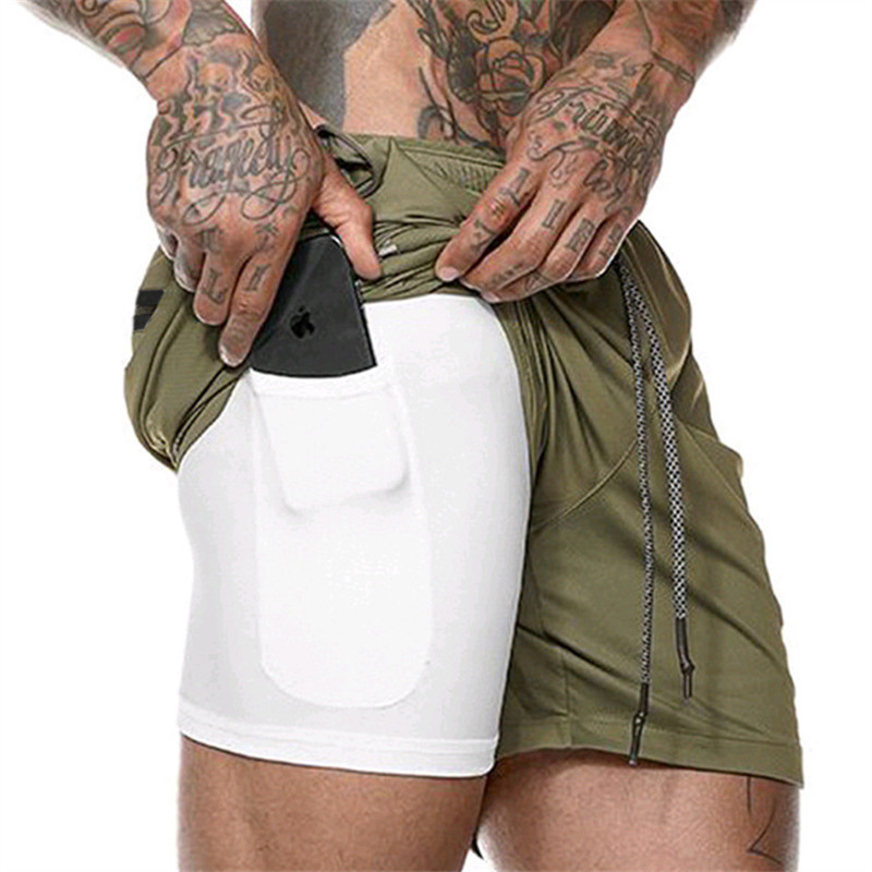 2020 NEW Summer Men Shorts Hidden Mobile Phone Inside Pockets Joggers Fitness Sporting Shorts Quick Dry Workout Gyms Shorts Men