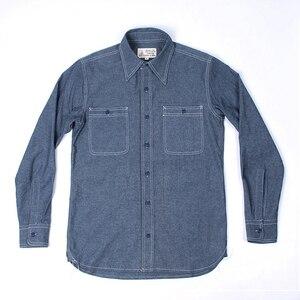 Image 2 - WW2 Riproduzione Vintage US Navy Denim Chambray Camicia Da Lavoro degli uomini di Fatica di Utilità