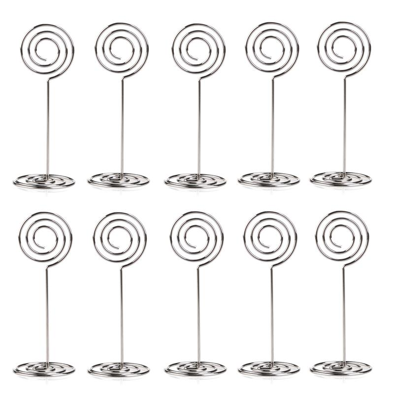 10pcs Place Card Holder Round Shape Wedding Party Favor Clips (Silver) image