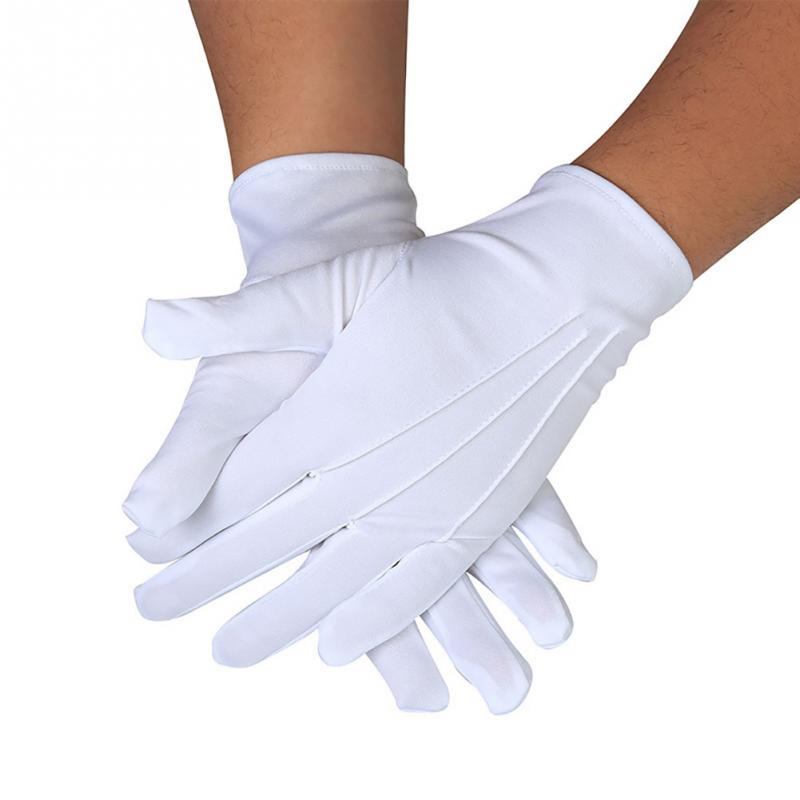 1Pair Etiquette gloves Full Finger Hands Protector Men Women Waiters/drivers/Jewelry/Workers Unisex Gloves White Three-strength
