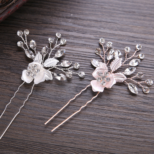 Vintage Silver Rose Gold Hair Accessories Women Wedding Rhinestone