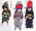 Novo 2016 EXÉRCITO DOS EUA Roupas Meninos Define Manga Comprida Hoodies + Calças 2 PCS Define Crianças Ternos Do Esporte Para A Primavera outono