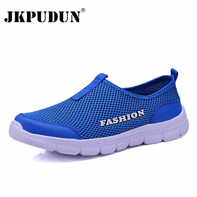 be80672ac JKPUDUN унисекс летняя дышащая сетка Мужская обувь Легкие кроссовки мужские  модные повседневные мужские туфли брендовые Дизайнерские