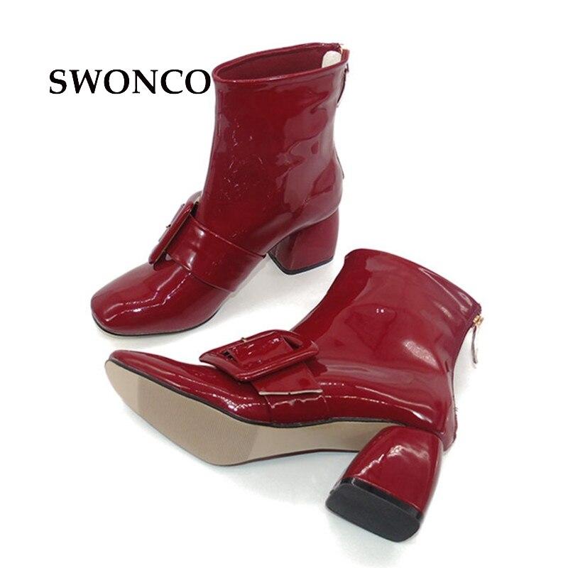 Black En Swonco red De Véritable Orteil Carré 2018 Dames Automne Fête Bottes Cheville Cuir Boucle Mode Chaussures Femme Femmes rqUPrHT