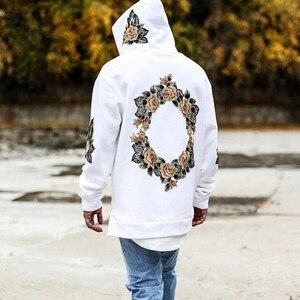 Image 1 - 2019 가을 새로운 디자인 꽃 인쇄 후드 티 남성 힙합 멋진 남성 후드 풀오버 남성 운동복 Streewear Hombres Sudaderas