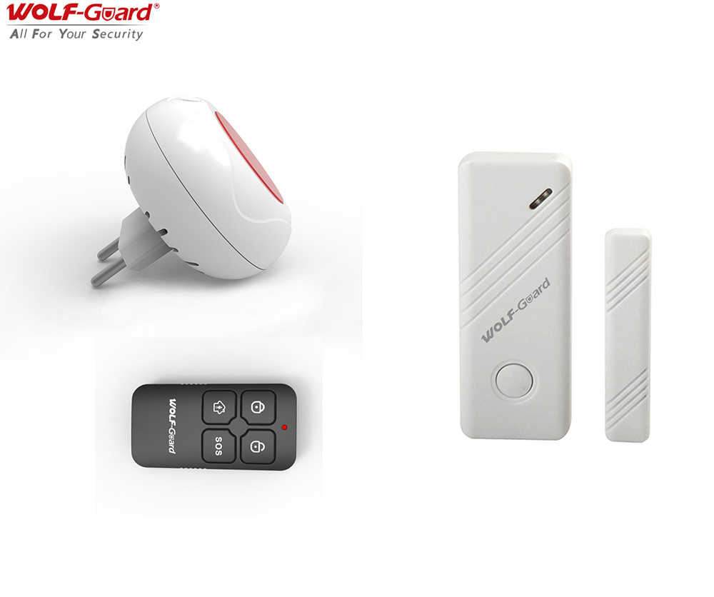 Wolf-Guard Wireless Indoor LED Lampeggiante Sirena Security Sistema di Allarme Antifurto per Porte E Finestre Sensore Telecomando 433 MHZ