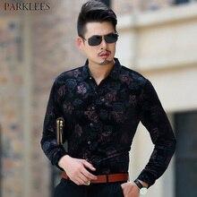 Luxury Brand Floral Velour Shirt Men 2018 Autumn New Slim Fit Long Sleeve  Dress Shirts Mens 2fde6cd24820