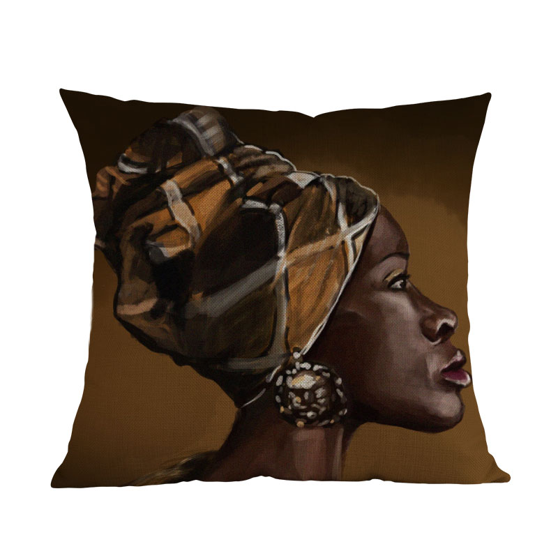 Oil Painting African Girl Lady Black Women Home Art Decoration Sofa Throw Pillow Case -3328