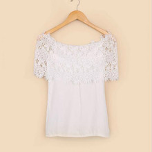 JOYINPARTY Plus Size S-XXL Blusas 2016 Summer Style Women Sexy Tops Casual Off Shoulder Blouse Chiffon Lace Floral Blouse Solid