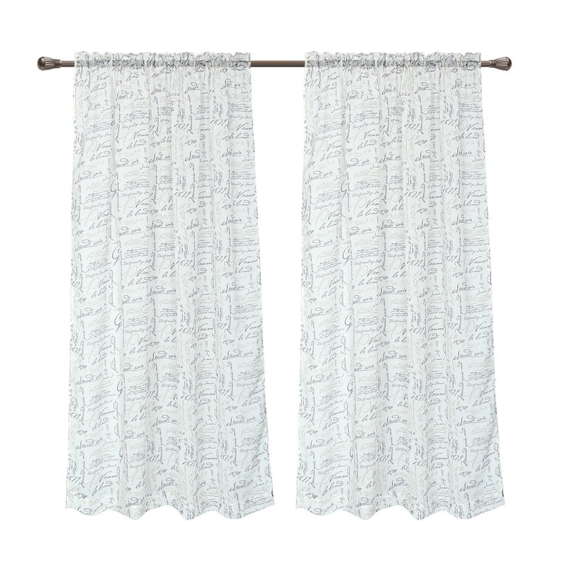 Pack Of 2 CaliTime Window Curtains Panels 50 X 95 French Script Faux Linen Sheers Ivory In From Home Garden On Aliexpress
