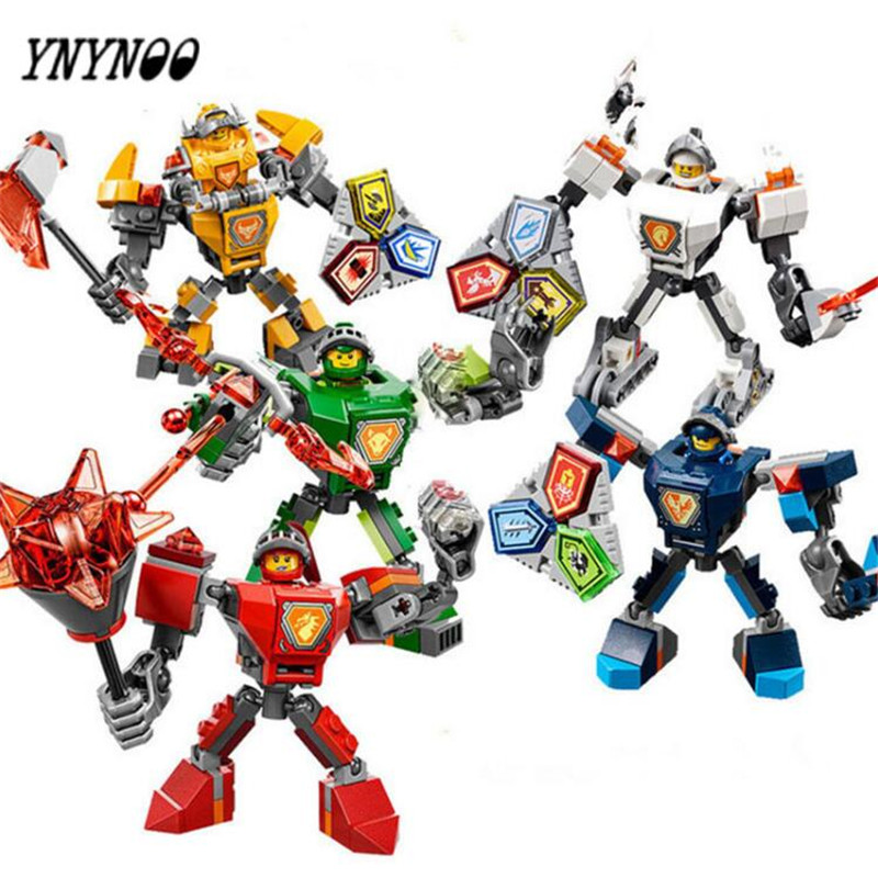 (YNYNOO)10585 10586 10587 10588 10589 Nexus Knights Building Blocks set Macy Aaron AXL Lance Clay Battle Suit Kids bricks toys 2017 lepin 14026 nexus knights building blocks set lance vs lightening minifigures kids gift bricks toys compatible with 70359