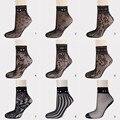 1 par summer encaje sexy nets calcetines para las mujeres señora girls 2017 Negro Flor de La Colmena Floral Cortos de Rejilla Calcetines de Tobillo 11 Colores