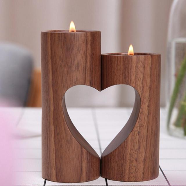 2018 Innovative Cutout Heart-Shaped Candle Holder Wooden Wedding Candlestick Desktop Decoration Wedding Party Supplies