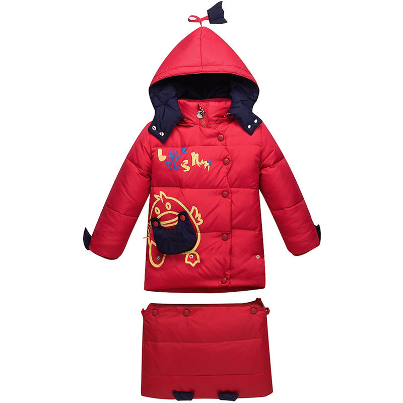 2017 New Cute Boys Gilrs Down Coat Winter Outerwear Warm Thick Kids Cartoon Down Jacket Set Children Clothes Set russia winter boys girls down jacket boy girl warm thick duck down