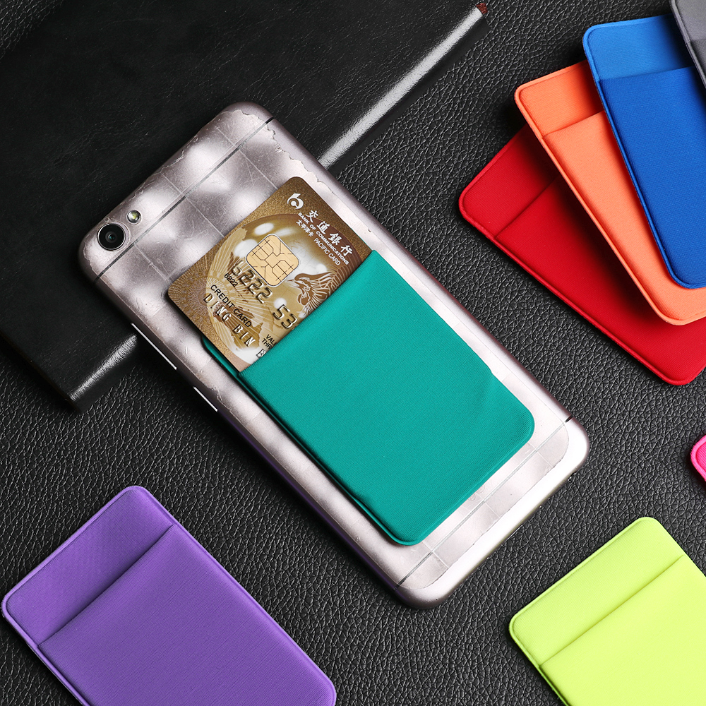 Hot Fashion Elastic Cell Phone Card Holder Mobile Phone Wallet Case Credit ID Card Holder Lycra Adhesive Sticker Pocket