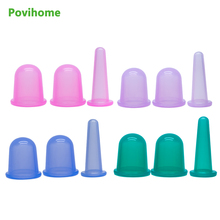 Фотография Povihome 3Pcs Vacuum Therapy Rubber Cup Silicone Cupping Cups Set Massage  Body Back Legs Cups Kit for Anti Cellulite