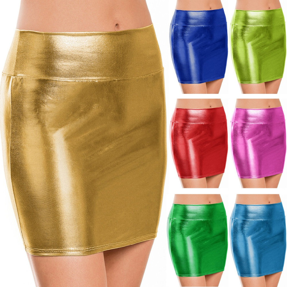 fashion sexy shiny wet look metallic mini micro skirt