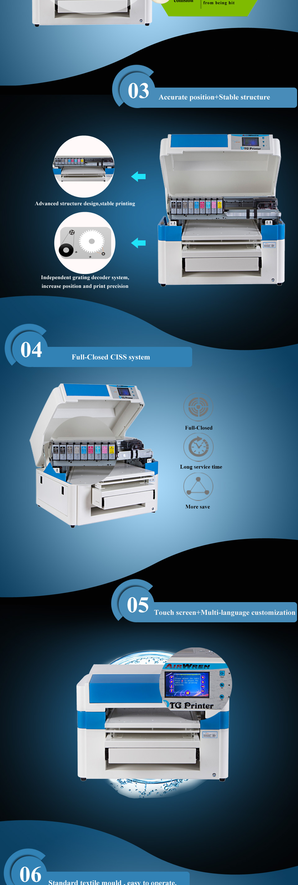 7554be7f8 a2 size digital printer dtg garment printer for sale. T600_01 T600_02  T600_03 T600_04. Advantage of textile printer