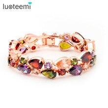 Luoteemi rose plateó mona lisa multicolor pulseras brazalete de cristal para las mujeres de regalo de navidad joyería de novia de lujo