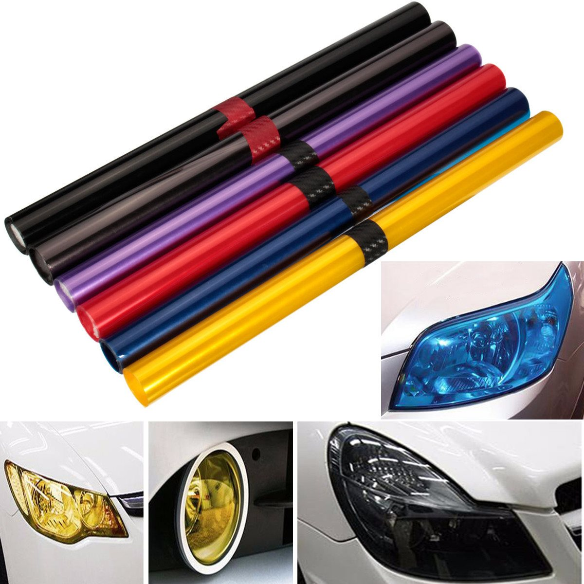 16 Inch x48 Inch Car Vehicle Shade Taillight Headlight PVC Foil Vinyl Film Cover 6 Color ...