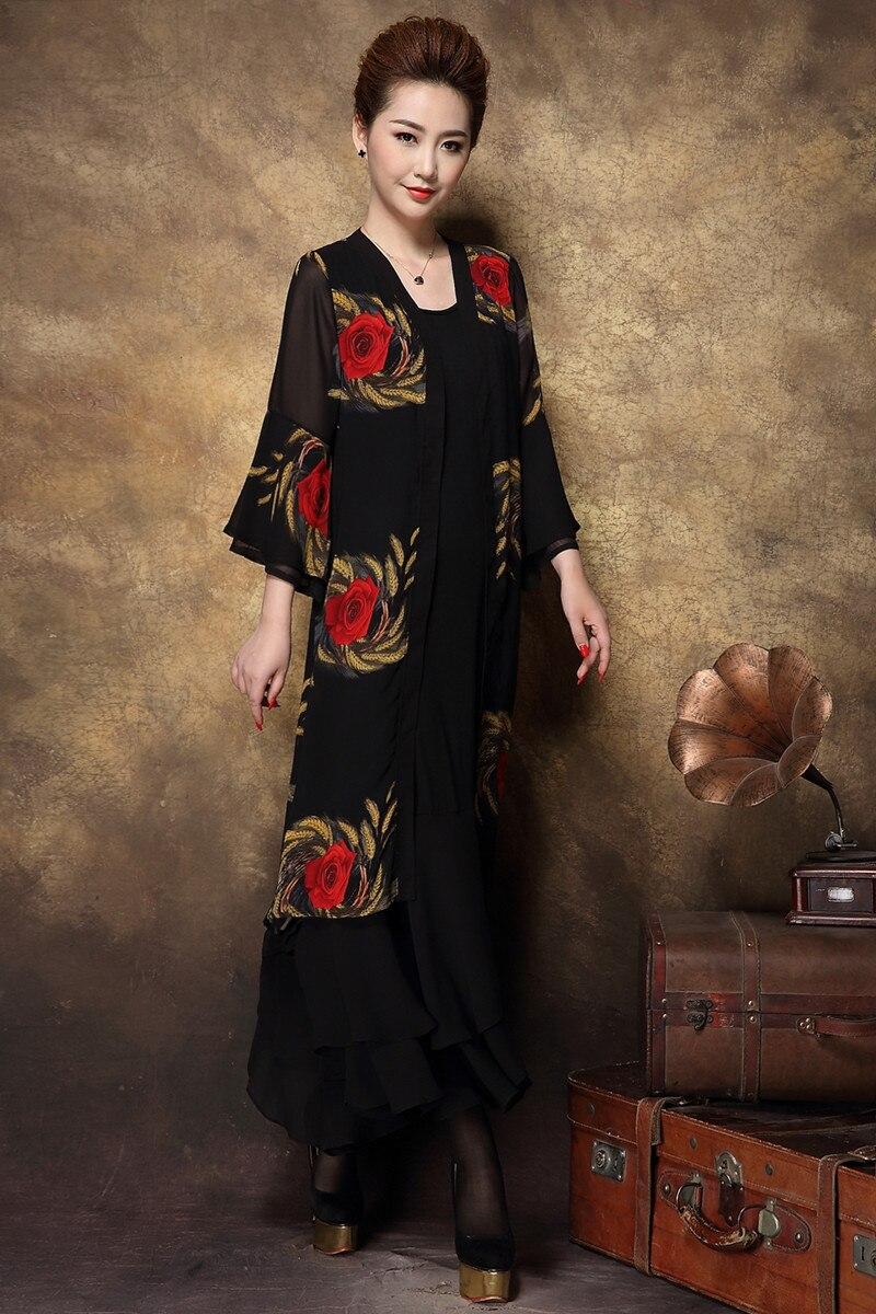 2016 Autumn Women Plus size long Dress middle age clothes set long ...