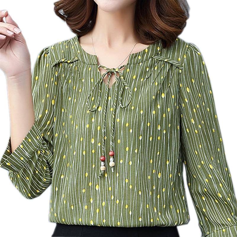 EvelingAsky Women Blouses 2018 Chiffon Print Sleeved Blusas Work Shirts For Womens Elegant Blouses Plus Size Female Summer Tops