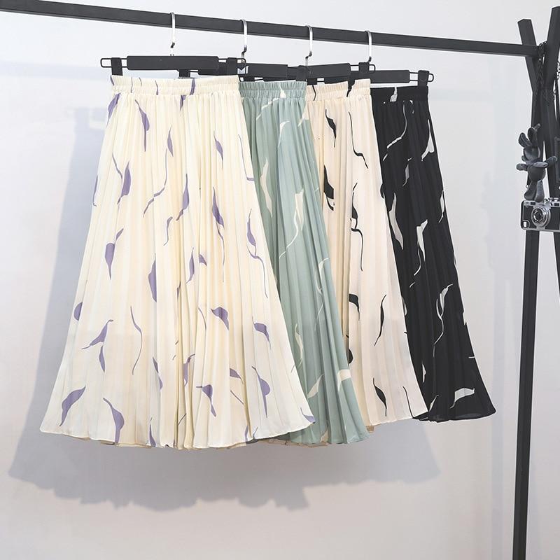 2020 Summer New Arrival Korean Style Sweet Printed Chiffon Skirt Elegant Elastic Waist Pleated Skirt Women Free Shipping