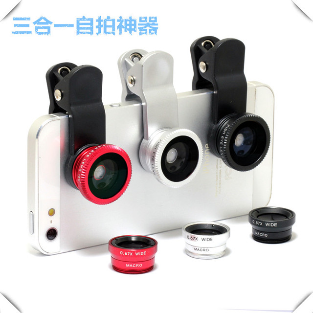 3 in 1 Fish eye lens universal mobile phone camera wide+macro+fisheye lenses for iphone samsung universal cell phone lenovo LG