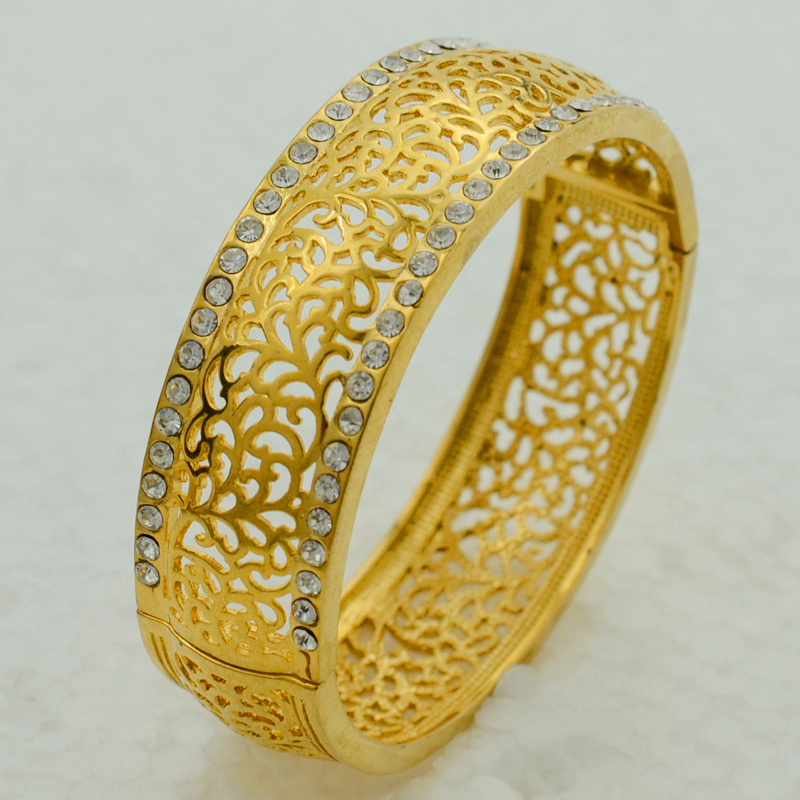 Anniyo 5.8CM Openable Bangle For Women Gold Color Jewelry ...