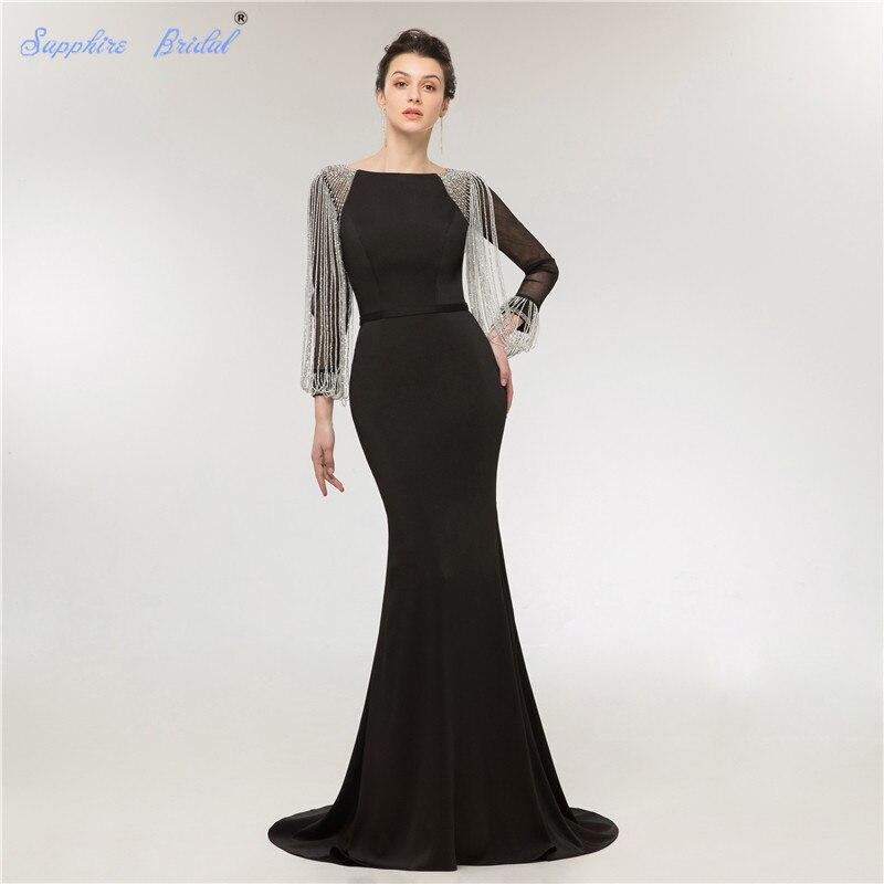 Saphir mariée dubaï à manches longues perles glands sirène robes de soirée musulman 2018 nouveau Design bleu marine longue robe de soirée Longo